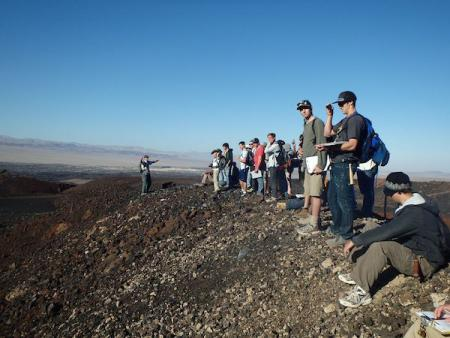 On the rim of Pisgah Crater