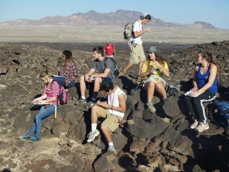Students at Pisgah Crater
